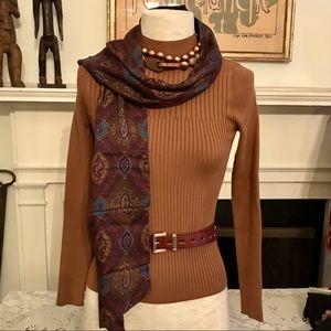 Vintage rectangular multicolor paisley scarf